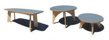 """""""Estas mesas, de madera y sobre con acabado de linóleo, son piezas versátiles y funcionales Se adaptan a cualquier uso dentro de la vivienda.""""  Mesas de Linoleo – mobiliario y iluminación – Decorar una casa Foto 310 357x133"""