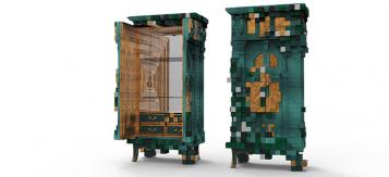 """""""El armario Piccadilly está inspirado en la arquitectura y las perspectivas de la famosa plaza Piccadilly Circus de Londres."""""""