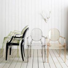 """""""Una cómoda butaca de policarbonato transparente y en varios colores con una línea Luis XV.""""  Ideas para Decorar: Louis Ghost, diseñada por Philippe Starck para Kartell Louis Ghost kartell1 220x220"""