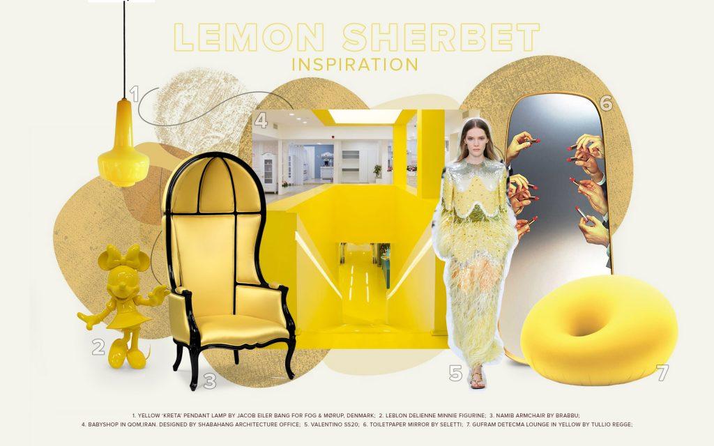 diseño de interiores Diseño de Interiores: Pronóstico de Colores que puedes seguir en 2021 moodboard trends 2022 color lemon sherbet 1024x640 1