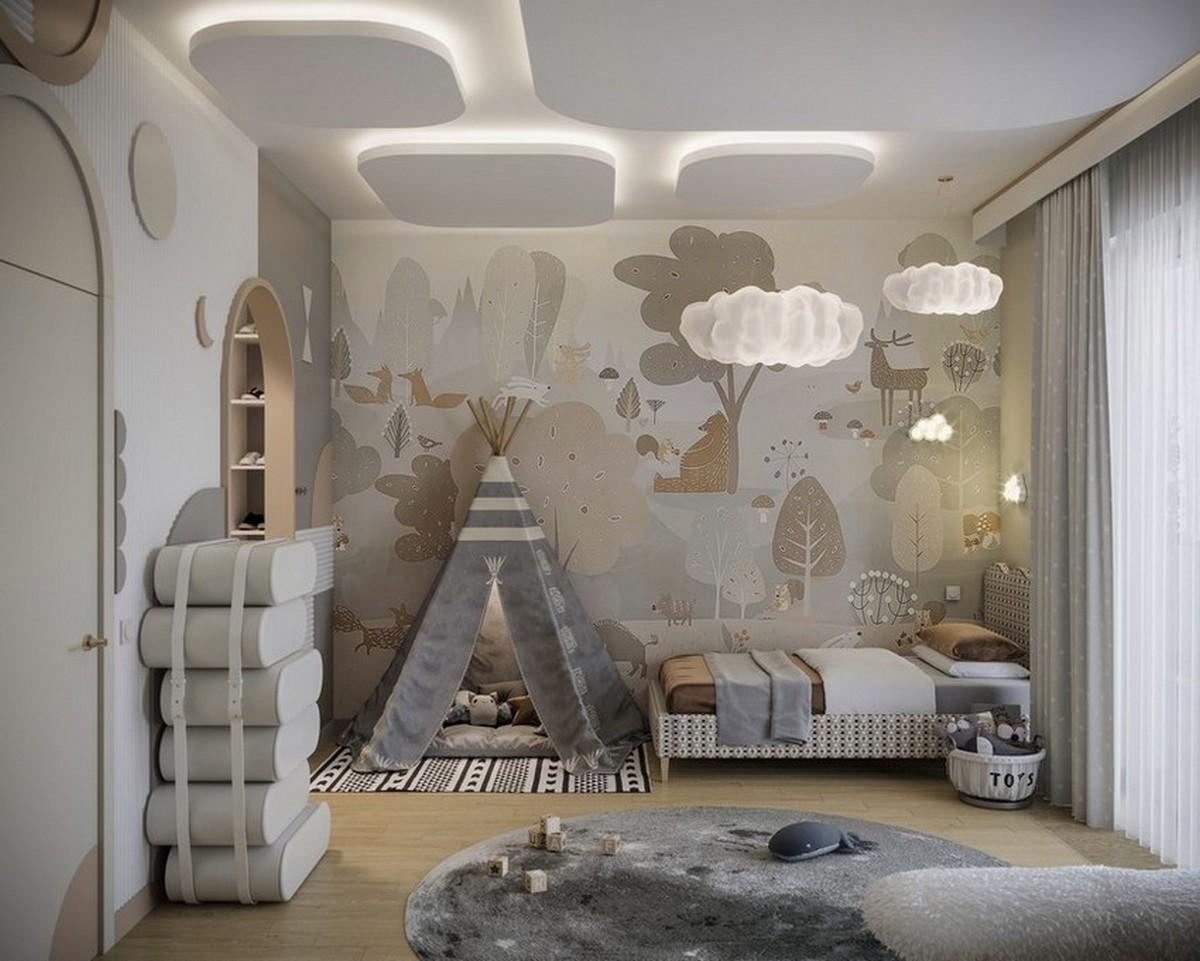 Diseño de Interiores pata niños: Dormitorios con elementos modernos y especiales diseño de interiores Diseño de Interiores para niños: Dormitorios con elementos modernos y especiales Cloudy Kids Bedroom Design with Modern Elements 1