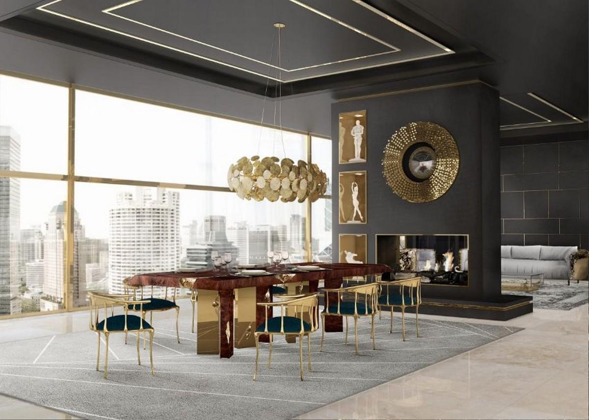 Los espejos de lujo son fundamentales para crear una experiencia exclusiva y Venetto tiene un diseño único: ¡un espejo convexo redondo en la parte superior que crea una ilusión de amplitud! Esta pieza puede convertir cualquier hogar en un lugar único y encantador, es una obra de arte en sí misma, llena de líneas finas, arcos y detalles precisos. ¡Este espejo de lujo está inspirado en los espejos venecianos, piezas clásicas y atemporales! espejos de lujo Espejos de lujo que le darán vida a su comedor moderno y exclusivo dining room ambience 01 1