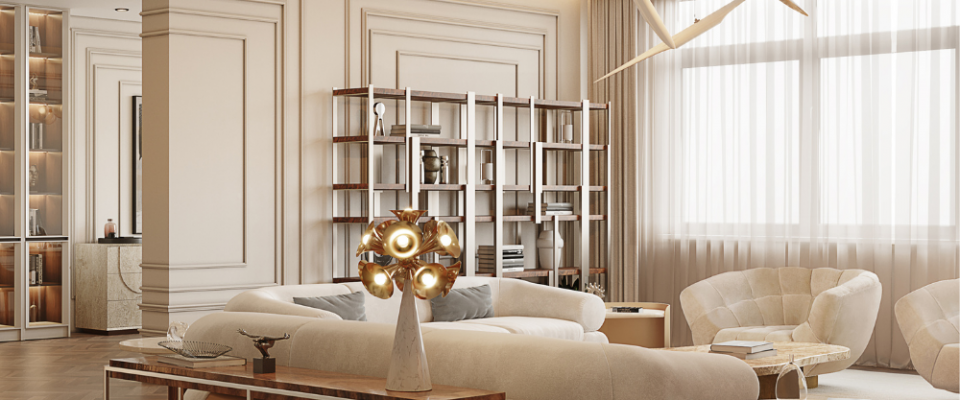Sala de estar elegante del Atíco Moderno y Contemporáneo de Millones