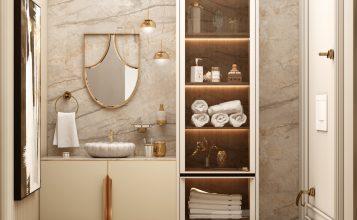 Baño poderoso del Ático Moderno y Contemporáneo de Millones sala de estar poderosa Sala de estar poderosa: Seleción de proyectos lujuosos para inspirar Bathroom 1 357x220