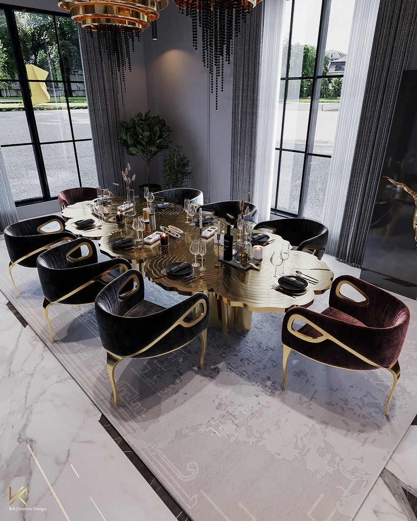 Sala de Comedor Clásico, Moderno, lujuosao y Opulente en Riad sala de comedor Sala de Comedor Clásico, Moderno, lujuoso y Opulente en Riad DiningEntryway 8