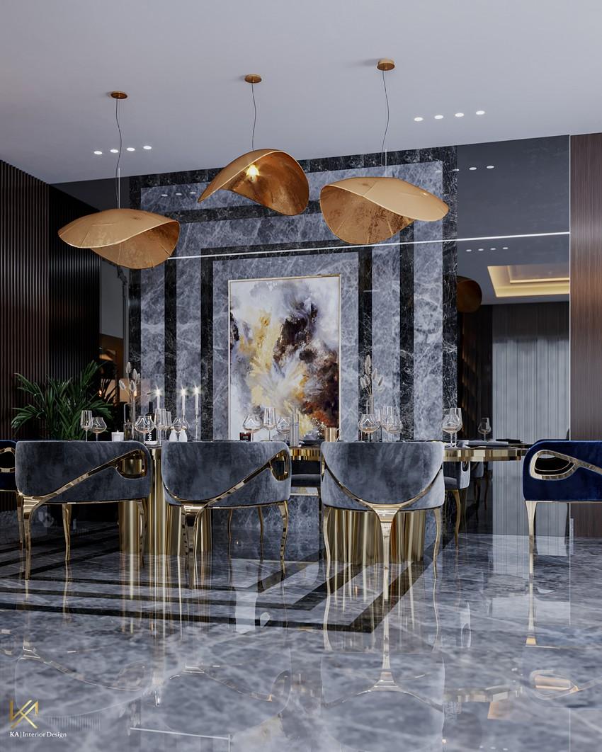 Diseño de Interiores: Un espacio de comedor y sala de estar lujuosa en Dubai