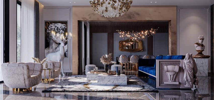 Sala de estar lujuosa, exclusiva y moderna por K.A Interior Design